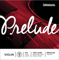 D'Addario Prelude Violin Single D String, 4/4 Scale, Medium Tension (J813 4/4M)