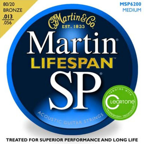 Martin MSP6200 SP Lifespan 80/20 Bronze Medium Acoustic Guitar String