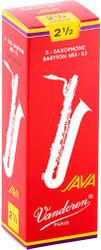 Vandoren SR3425R Bari Sax JAVA Red Reeds Strength 2.5; Box of 5 (SR3425R)
