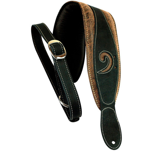 "LM Products 3"" Leather Bass Clef Padded Guitar Strap Blac"