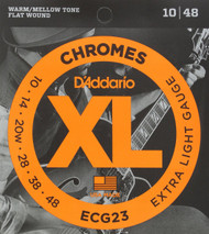 D'Addario ECG23 Chromes Flat Wound Electric Guitar Strings, Extra Light, 10-4