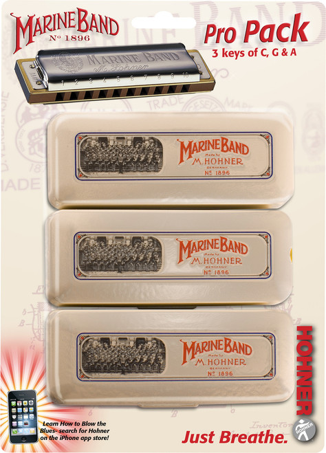Hohner 1896 Marine Band Harmonica Pro Pack - Key of C,G,A