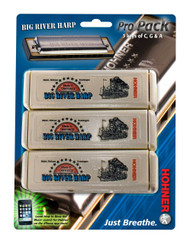 Hohner 590 Big River Harp MS Harmonica Pack - Key of C,G,A