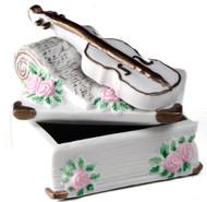 Porcelain Trinket Box - Violin and Roses