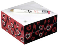 CMC Memo Cube with Pencil - Hearts and Heart Note