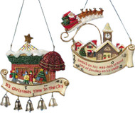 Kurt Adler Christmas Village Scene Ornaments Set of Two