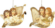 Kurt Adler Winged Angels Playing Golden Harp Ornaments Set of 2