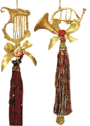Kurt Adler Golden Instrument Ornaments with Tassels Set of 2