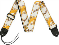 Fender® Monogrammed Strap White/Brown/Yellow