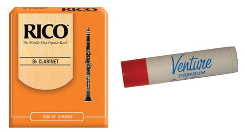 Rico Clarinet Reeds #2.5 - 10 Pack and Venture Cork Greas