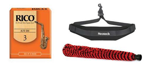 Rico Alto Saxophone Reeds #3 - 10 Pack, Neotech Sax Strap, and H.W. Alto Sax ..