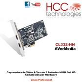 CL332-HN PCIe - 2 Entradas HDMI Full HD Compresión por Hardware - Línea Profesional SDK [AVerMedia]