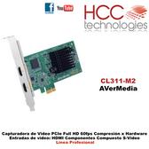 CL311-M2 PCIe - Entradas HDMI Componentes Compuesto S-Video - Full HD 60fps -  Compresión por Hardware - Línea Profesional SDK [AVerMedia]