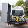 Bicycles inside Black Box Enclosed Carrier