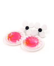 Galaxy Glow Air Pillow Earrings - Smiling Sun Spheres (003)
