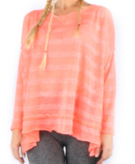 Striped Candy - Long sleeve open back tunic