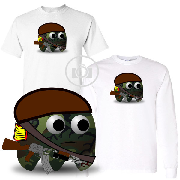 Pac Buddies Army Soldier Camo Pac-Man Character Illustration Graphic White T Shirt (S-3X)