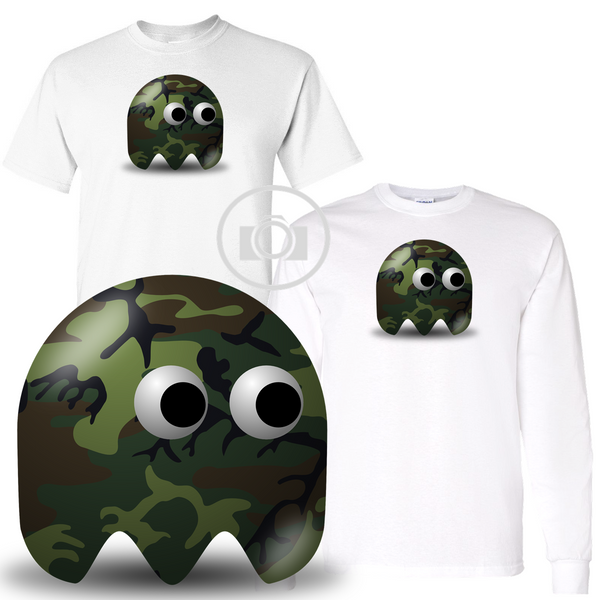 Pac Buddies Military Camo Camouflage Body Pac-Man Character Illustration Graphic White T Shirt (S-3X)