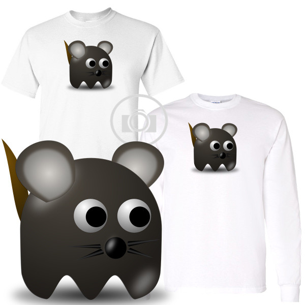 Pac Buddies Gray Mouse Pac-Man Character Illustration Graphic White T Shirt (S-3X)
