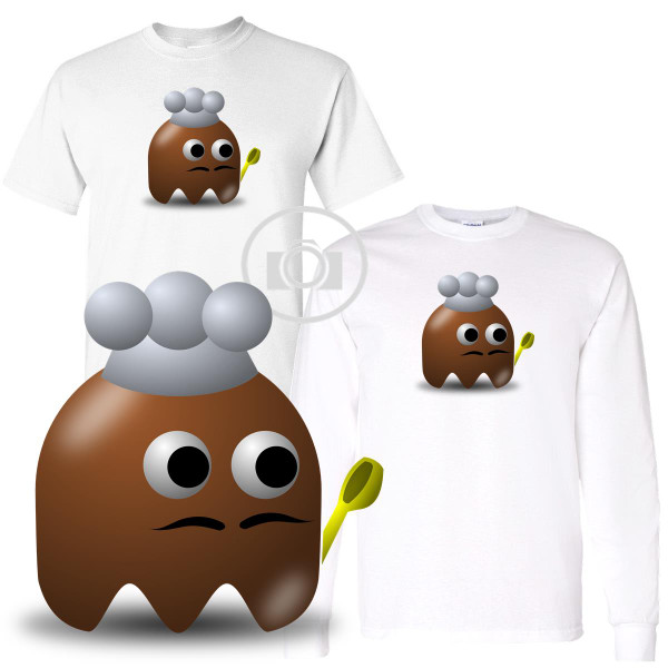 Pac Buddies Male Cook Chef Pac-Man Character Illustration Graphic White T Shirt (S-3X)