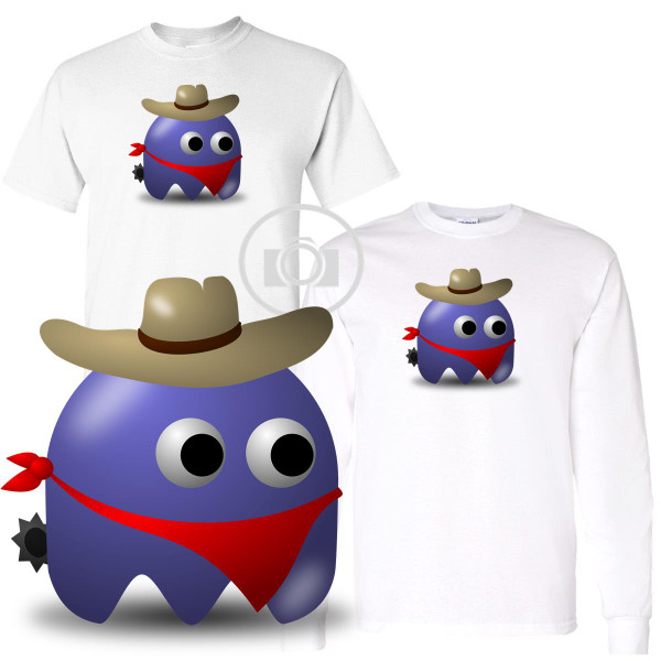 Pac Buddies Western Ranch Cowboy Pac-Man Character Illustration Graphic White T Shirt (S-3X)