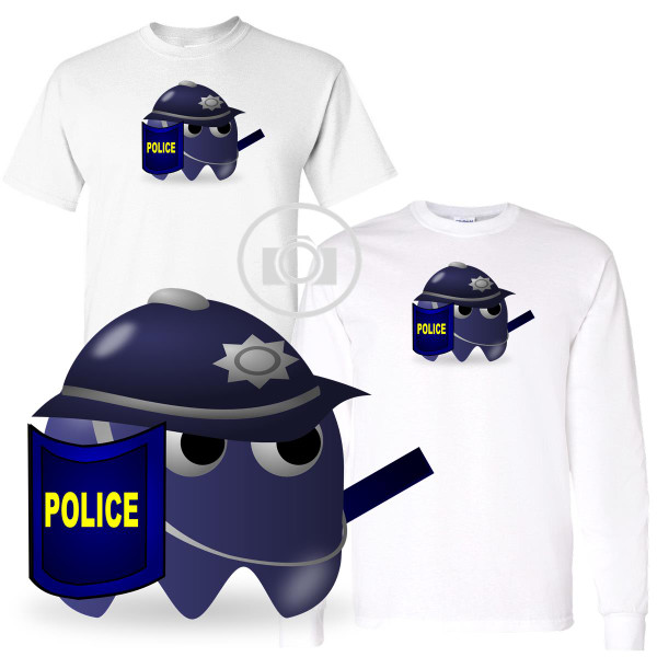 Pac Buddies Police Officer Uniform Pac-Man Character Illustration Graphic White T Shirt (S-3X)