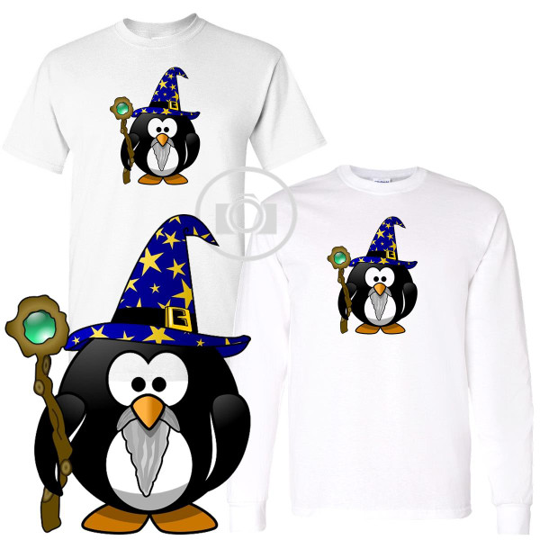 Penguin Buddies Gandalf Wizard Character Illustration White T Shirt (S-3X)