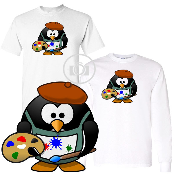 Penguin Buddies Artist Character Illustration White T Shirt (S-3X)