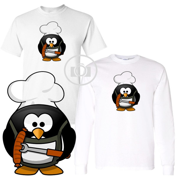 Penguin Buddies Grill Master Character Illustration White T Shirt (S-3X)