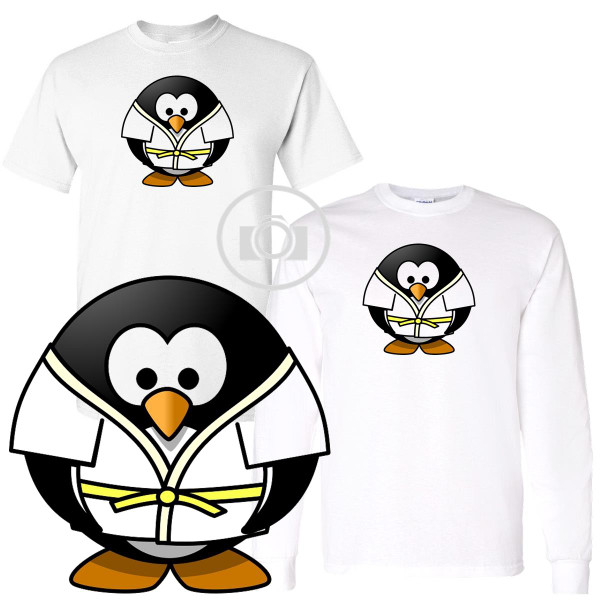 Penguin Buddies Karate Judo Character Illustration White T Shirt (S-3X)