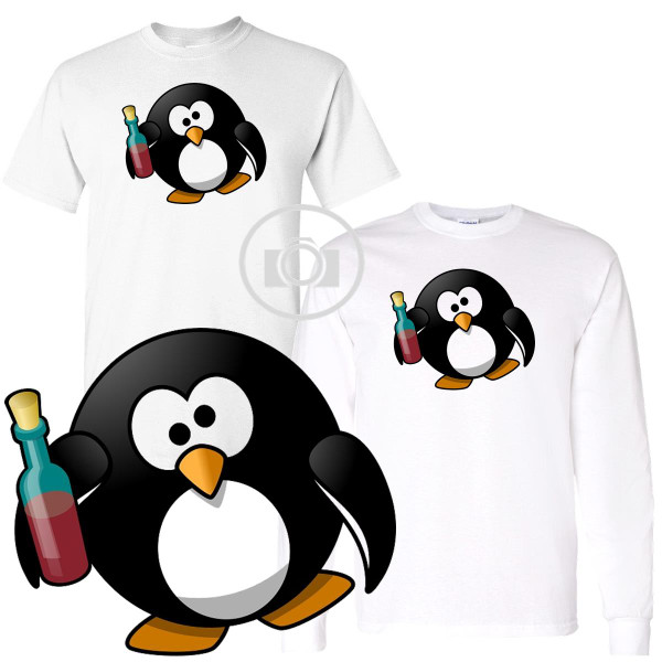 Penguin Buddies Wine Drinking Drunk Character Illustration White T Shirt (S-3X)