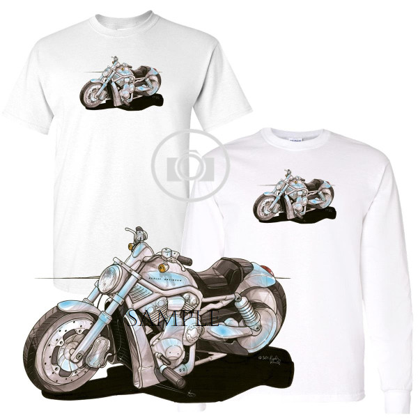 Harley Davidson VRod V Rod VRSCA Biker Art Koolart Motorcycle Caricature Cartoon White T Shirt (S-3X)