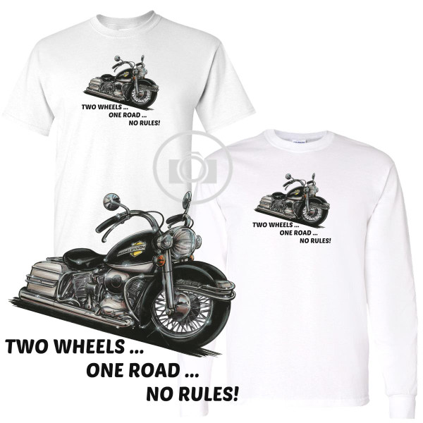 Harley Davidson Electra Glide Two Wheels .. One Road .. No Rules Biker Art Koolart Motorcycle Caricature Cartoon White T Shirt (S-3X)
