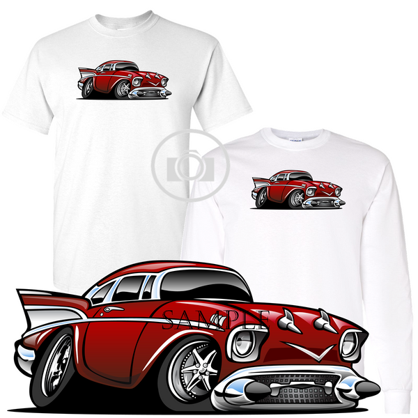 Street Rod 1950's Red Vintage Classic Hot Rod Car Graphic Art White T Shirt (S-3X)