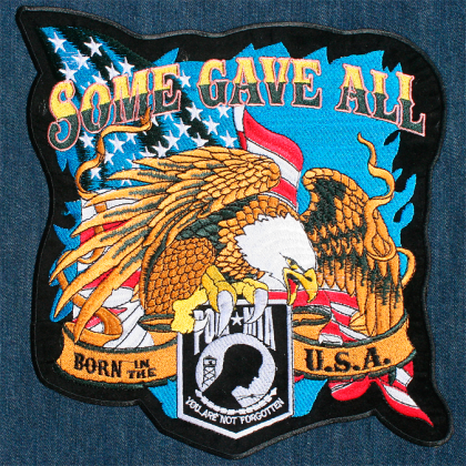 POW MIA Some Gave All Patriotic Eagle Large 10X12 Embroidered Back Patch