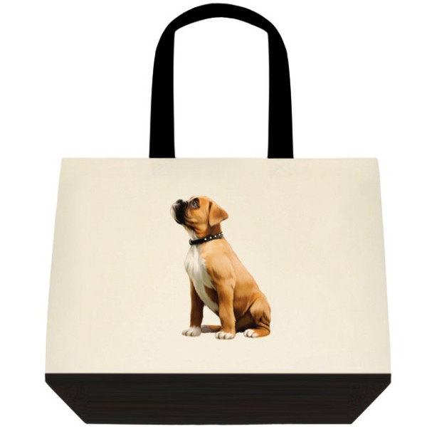 Boxer Cute Puppy Dog Graphic Art Large Two-Tone Deluxe Cotton Canvas Tote Bag