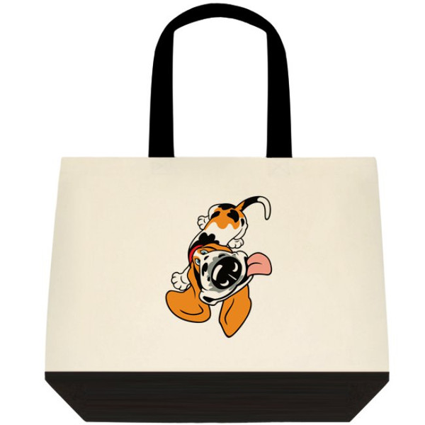 Basset Hound Funny And Cute Cartoon Dog Graphic Art Large Two-Tone Deluxe Cotton Canvas Tote Bag