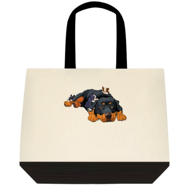 Rottweiler Rottie Dog With Puppies Crawling Graphic Art Large Two-Tone Deluxe Cotton Canvas Tote Bag