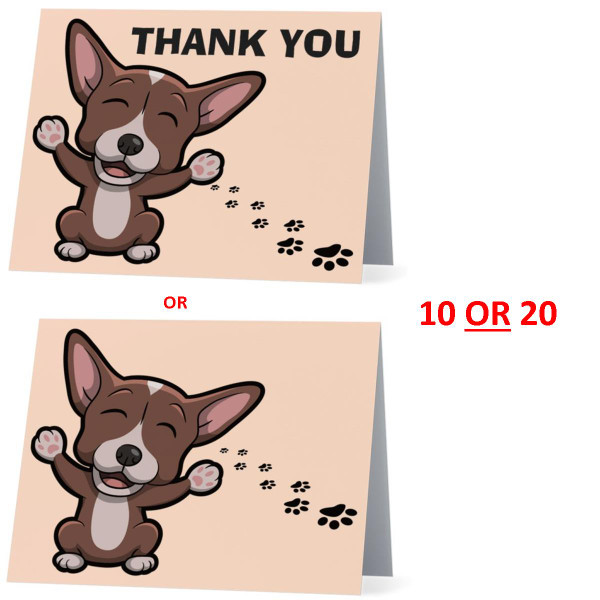 Chihuahua Happy Dog NEW Folded Thank You Or Blank Note Card Set (Packaged In Sets Of 10)