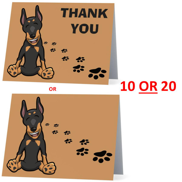 Doberman Pinscher Happy Dog NEW Folded Thank You Or Blank Note Card Set (Packaged In Sets Of 10)