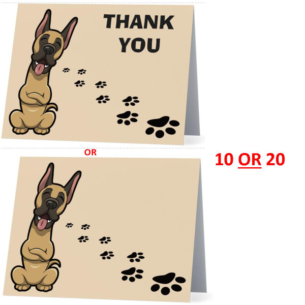 Great Dane Happy Dog NEW Folded Thank You Or Blank Note Card Set (Packaged In Sets Of 10)