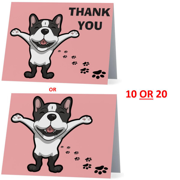French Bulldog Happy Dog NEW Folded Thank You Or Blank Note Card Set (Packaged In Sets Of 10)