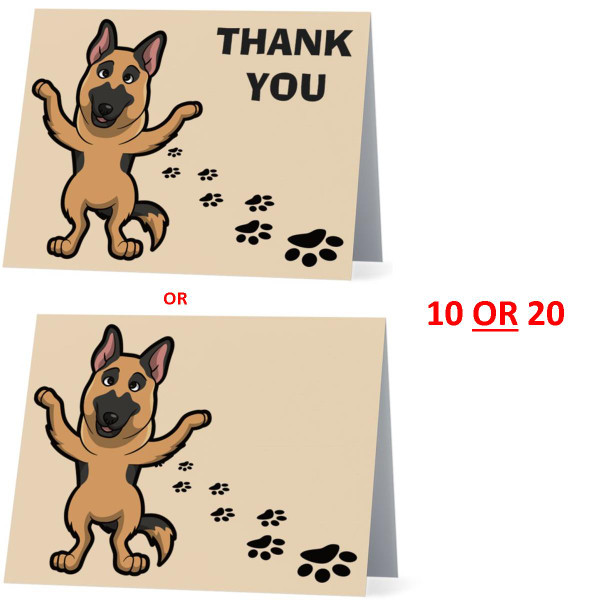 German Shepherd Happy Dog NEW Folded Thank You Or Blank Note Card Set (Packaged In Sets Of 10)