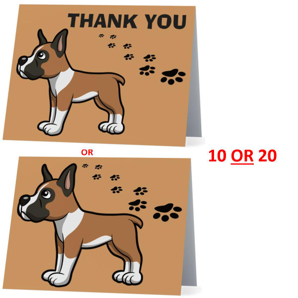 Boxer Cute Little Puppy Dog NEW Folded Thank You Or Blank Note Card Set (Packaged In Sets Of 10)