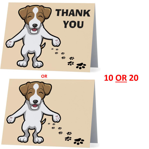 Jack Russell Terrier Happy Dog NEW Folded Thank You Or Blank Note Card Set (Packaged In Sets Of 10)
