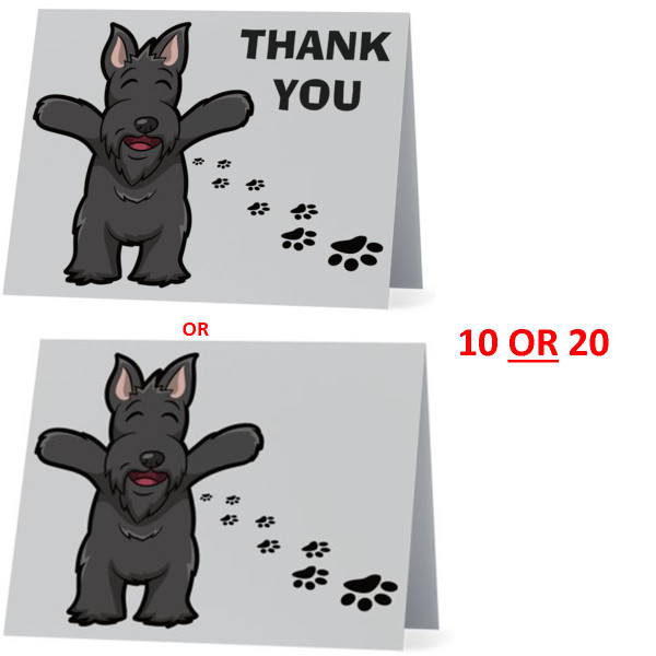 Scottish Terrier Scottie Happy Dog NEW Folded Thank You Or Blank Note Card Set (Packaged In Sets Of 10)