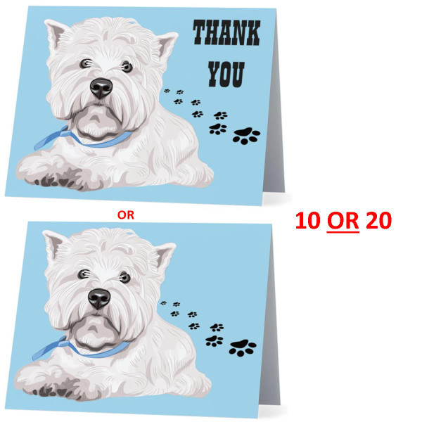 West Highland Terrier Westie Puppy Pose Dog NEW Folded Thank You Or Blank Note Card Set (Packaged In Sets Of 10)