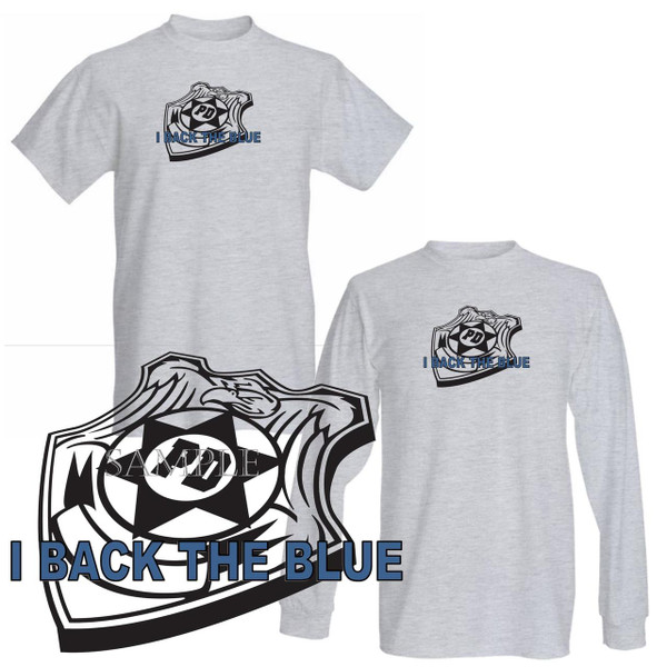 I Back The Blue Badge Police Officer Support Graphic Art Gray T Shirt (S-3X)