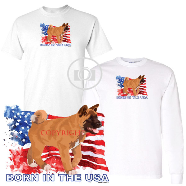 Akita Puppies Rule! Born In The USA Flag Graphic Short / Long Sleeve White T Shirt (S-3X)