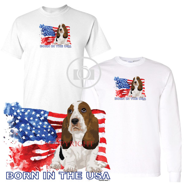 Basset Hound Puppies Rule! Born In The USA Flag Graphic Short / Long Sleeve White T Shirt (S-3X)